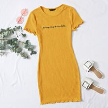Lettuce Trim Slogan Embroidery Rib-knit Dress