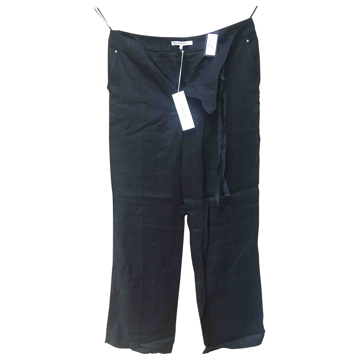 Gerard Darel \N Black Linen Trousers for Women 36 FR