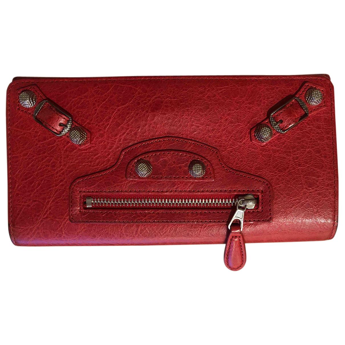 Balenciaga - Portefeuille   pour femme en cuir - rouge