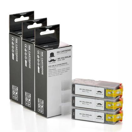Compatible Canon PGI-250XL PGBK reservoir encre noir pigment de Moustache, 3 paquet - haut rendement
