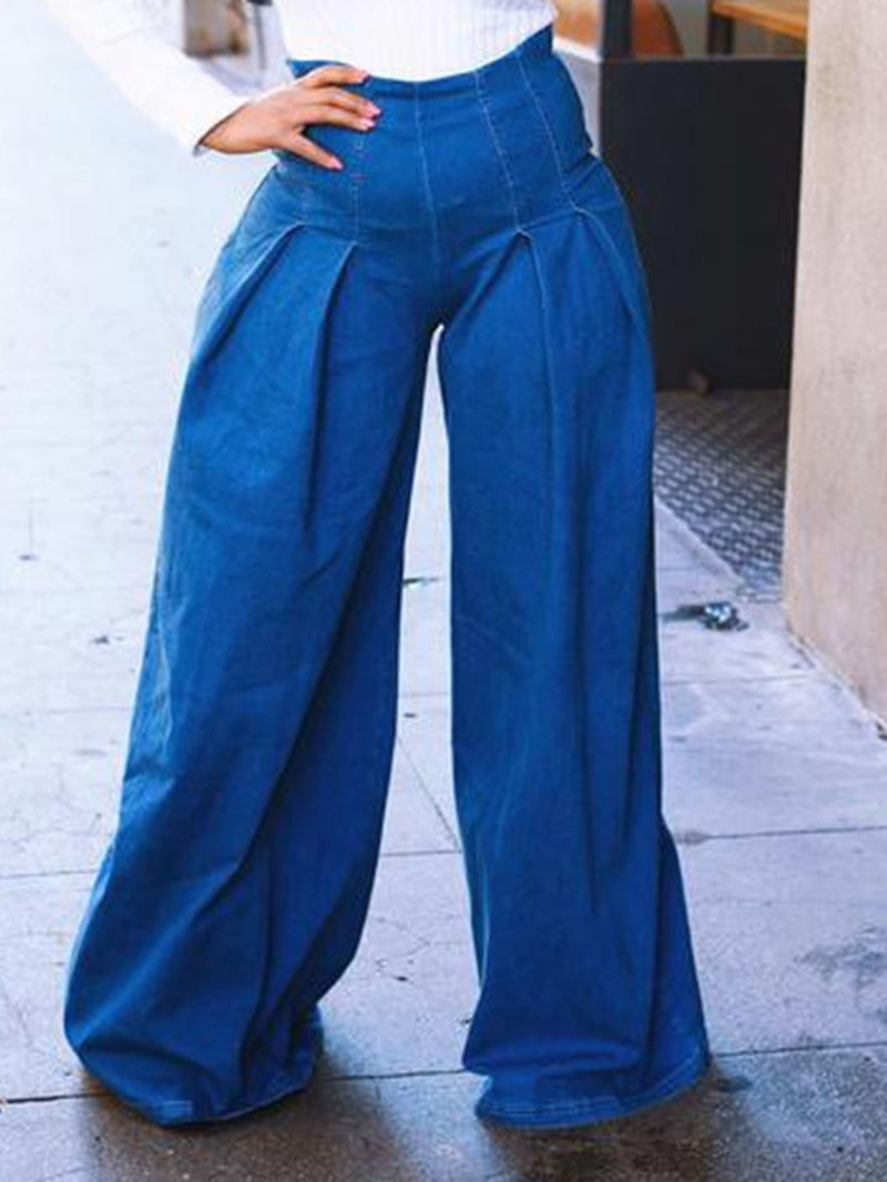 Ericdress Wide Legs Plain Loose Jeans
