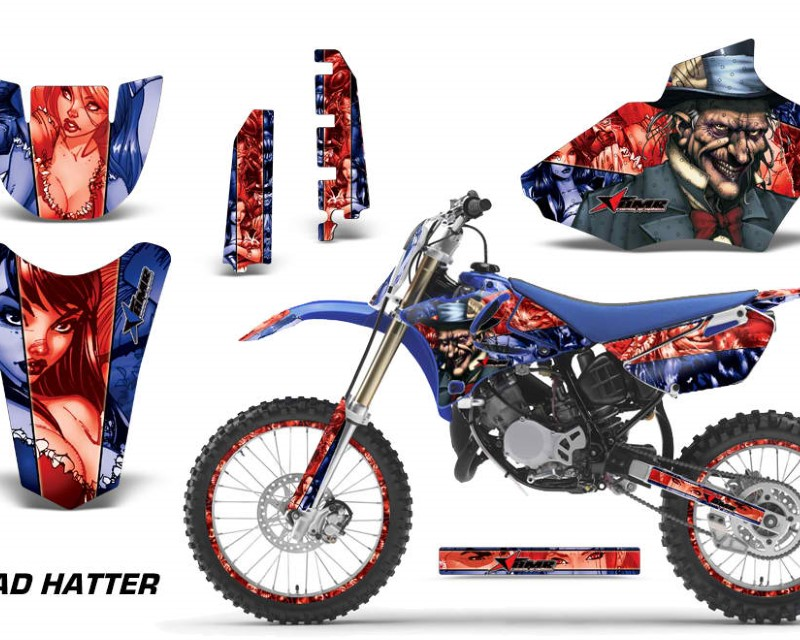 AMR Racing Graphics MX-NP-YAM-YZ85-02-14-HAT R K Kit Decal Sticker Wrap + # Plates For Yamaha YZ85 2002-2014áHATTER RED BLACK