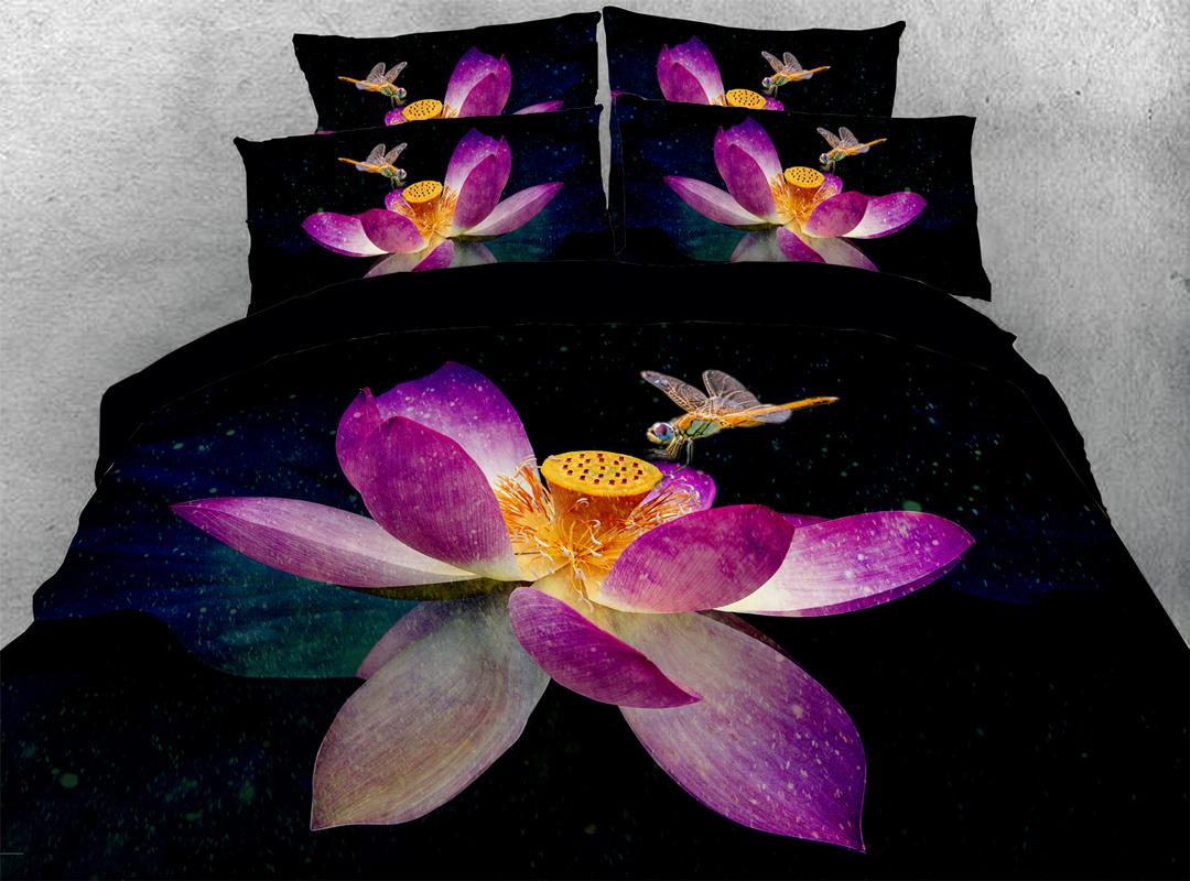 Lotus 3D 5-Piece Floral Comforter Set Zipper Ties Colorfast/Wear-resistant/Skin-friendly Bedding Sets