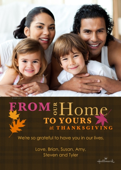 Thanksgiving Photo Cards Flat Glossy Photo Paper Cards with Envelopes, 5x7, Card & Stationery -Our Home to Yours