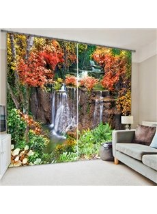 3D Flowing Water with Red Leaves Printed Polyester Custom Curtain for Living Room