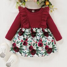 Baby Girl Contrast Lace Floral Print Smock Dress