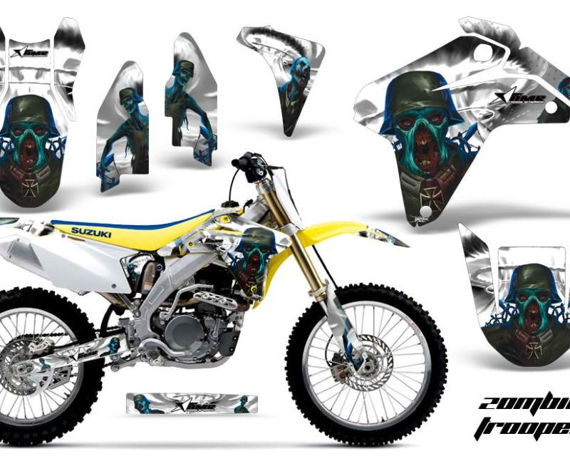 AMR Racing Dirt Bike Graphics Kit Decal Sticker Wrap For Suzuki RMZ450 2005-2006áZOMBIE WHITE