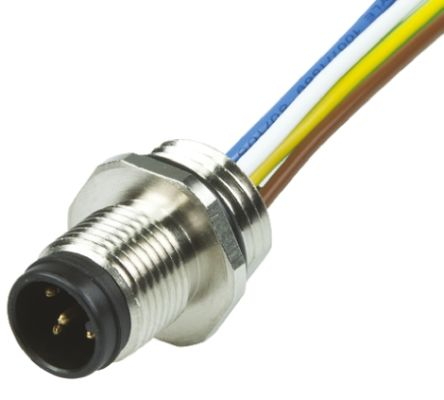 Brad , Ultra-Lock Series, Straight M12 to Unterminated Cable assembly, 12 Core 300mm Cable