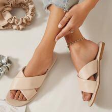 Faux Leather Crisscross Vamp Sandals