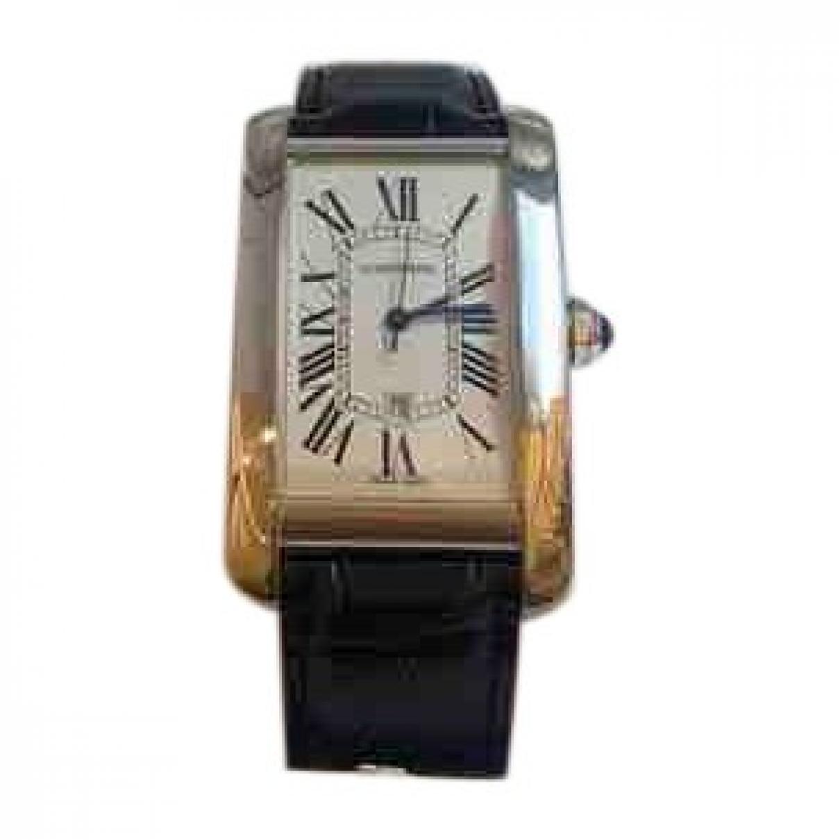 Cartier Tank Americaine Uhr in  Blau Weissgold
