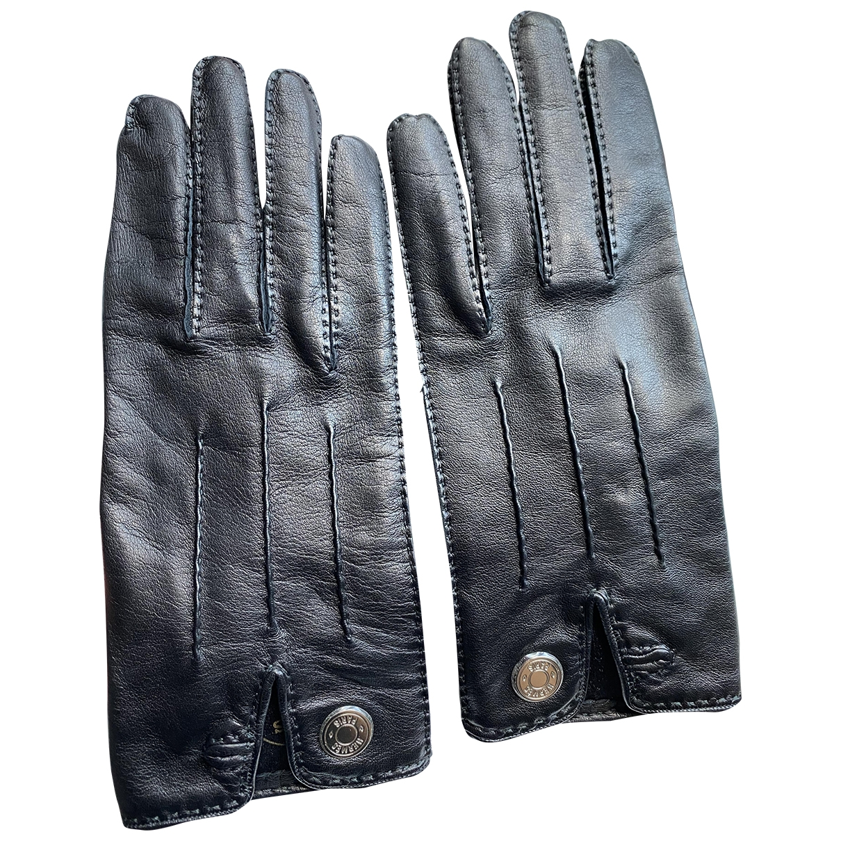 Hermès \N Black Leather Gloves for Women 7.5 Inches