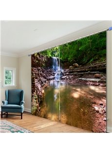Rustic Waterfalls Scenery 3D Printed Polyester Curtain