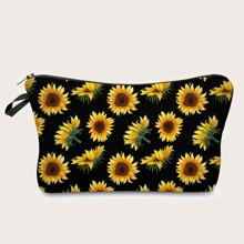 Sunflower Pattern Makeup Bag