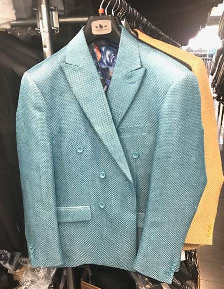 Mens Double breasted blazer sport coat jacket Turquoise