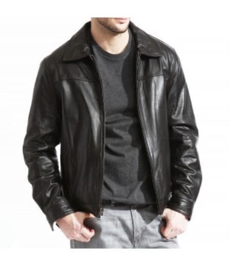 Mens Modern James Dean Leather Jacket Full Grain Lambskin Black