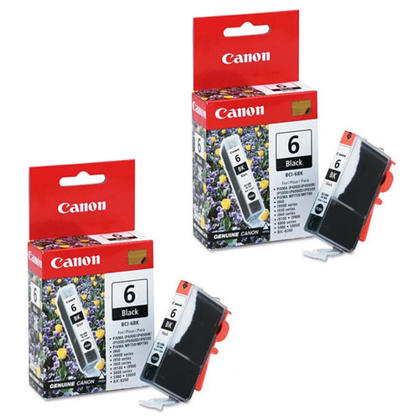 Canon BCI-6BK Original Black Ink Cartridge Twin Pack