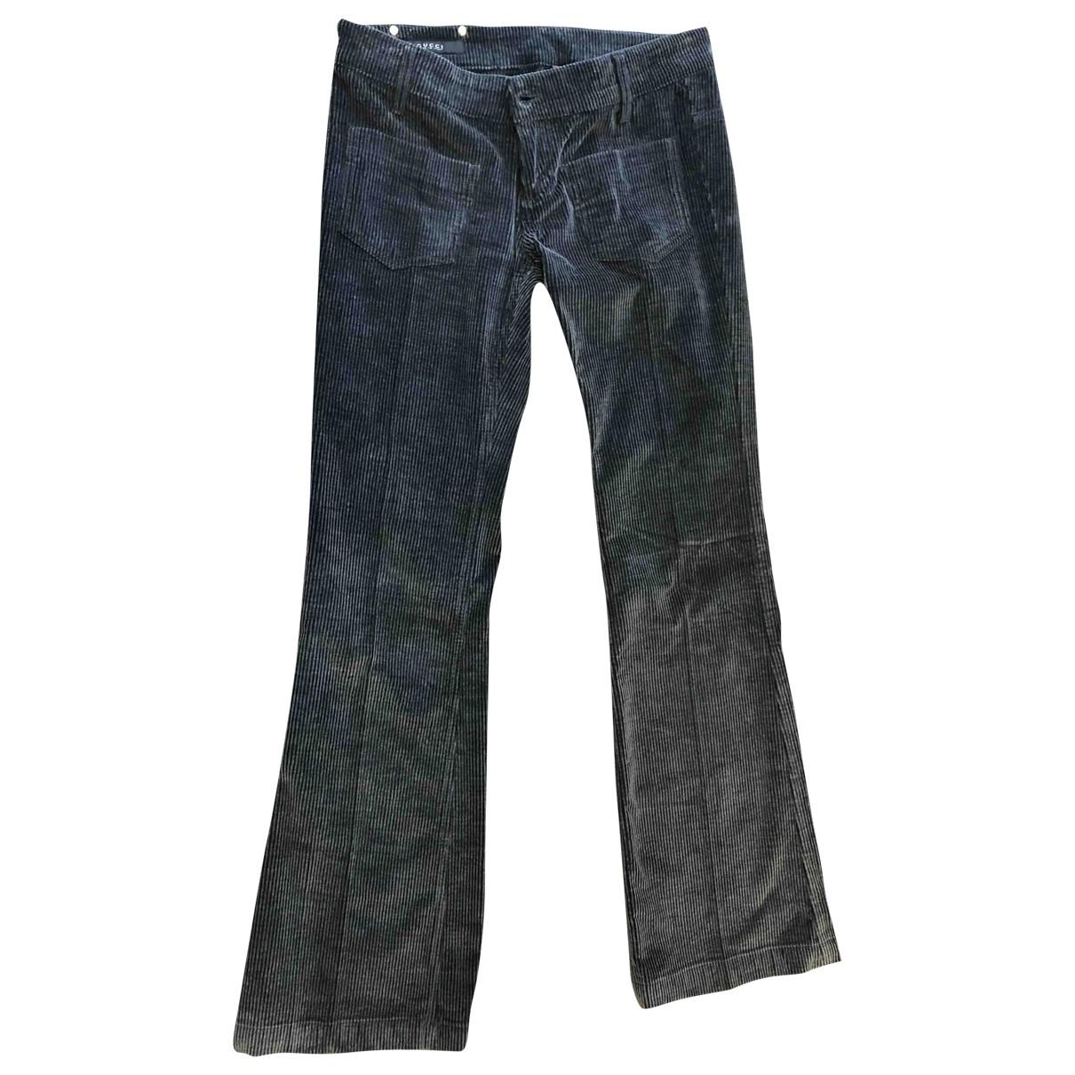 Gucci \N Grey Velvet Trousers for Women 42 IT