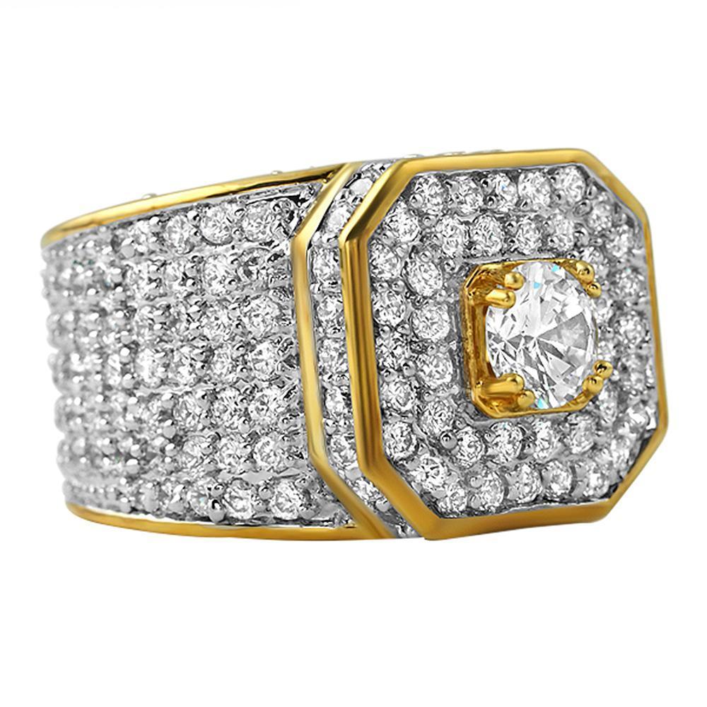 Presidential Gold CZ Bling Bling Ring