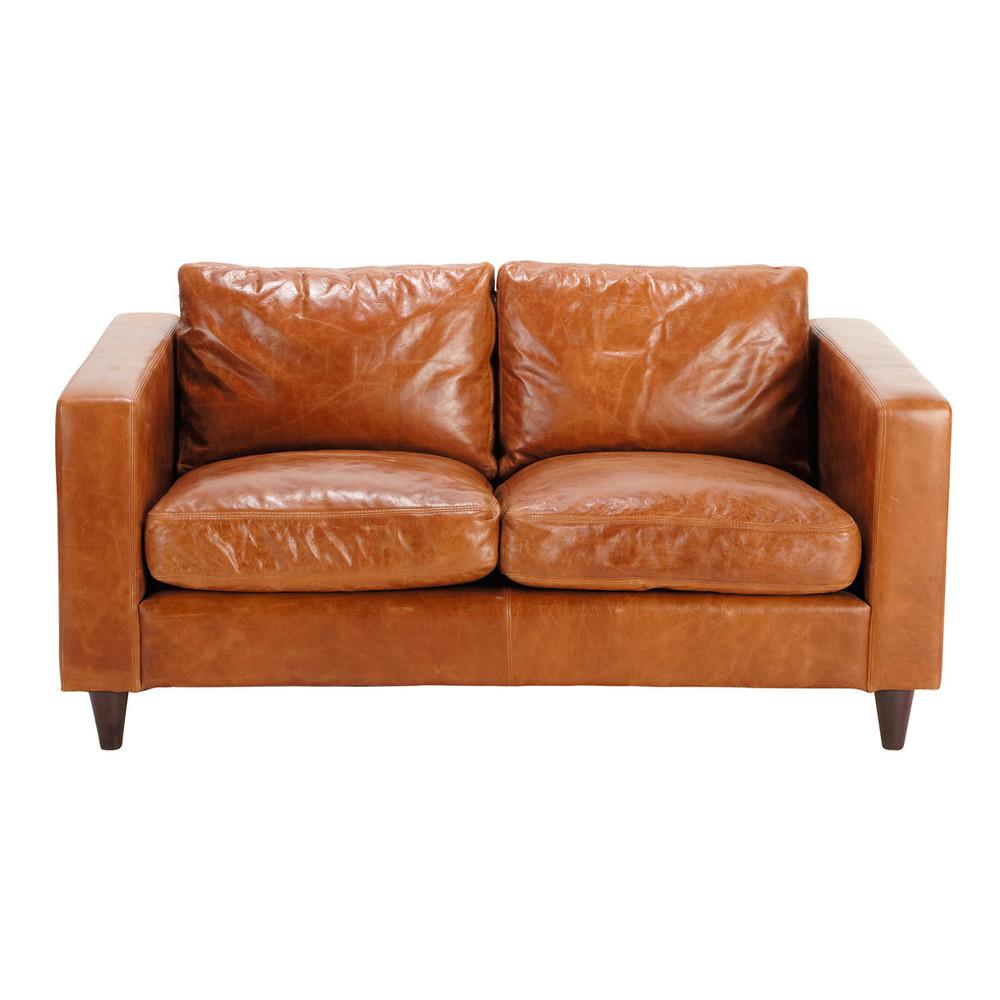 Vintage-Sofa 2-Sitzer aus Leder, camelfarben Henry Henry