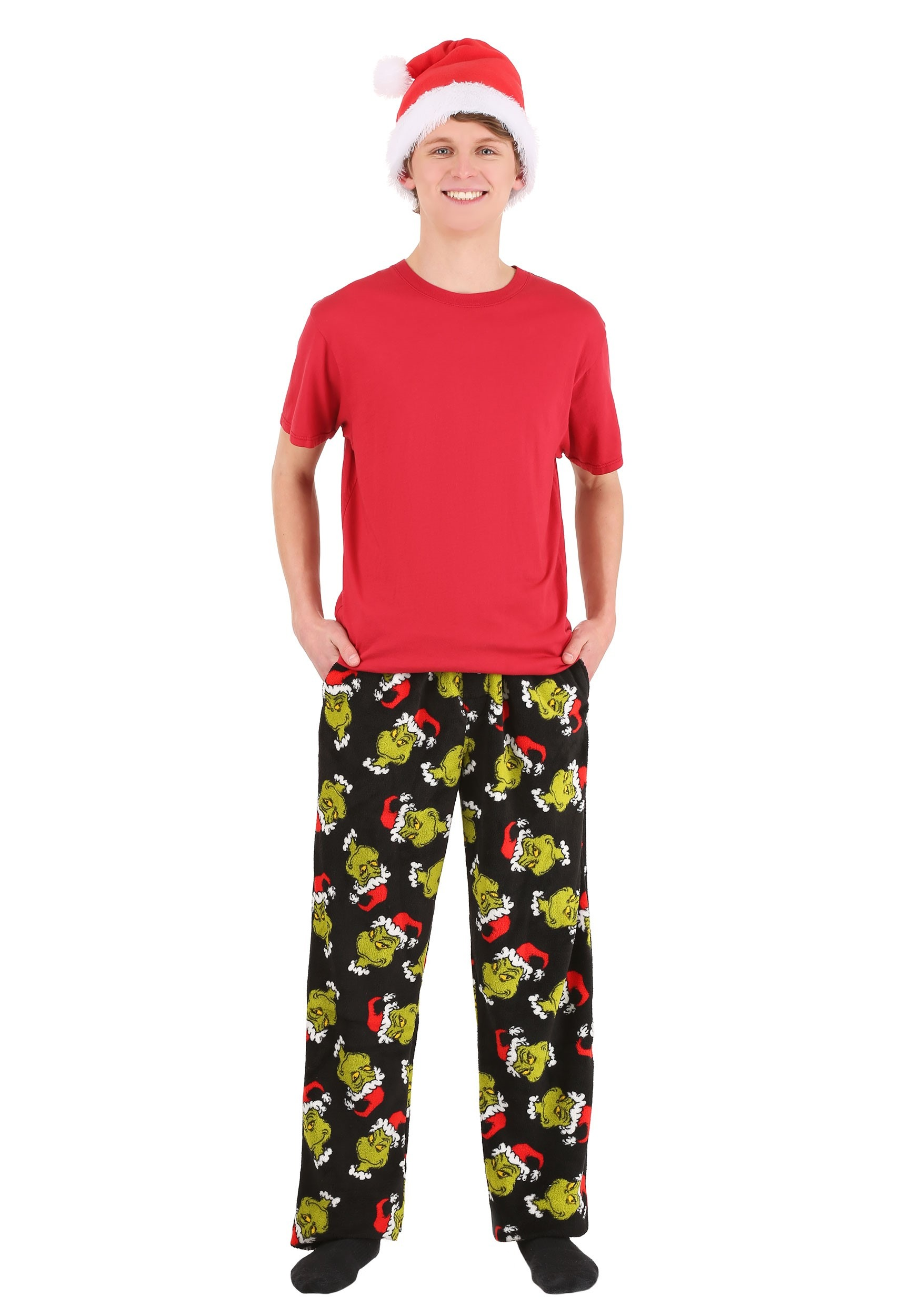 Grinch Lounge Pants with Santa Hat