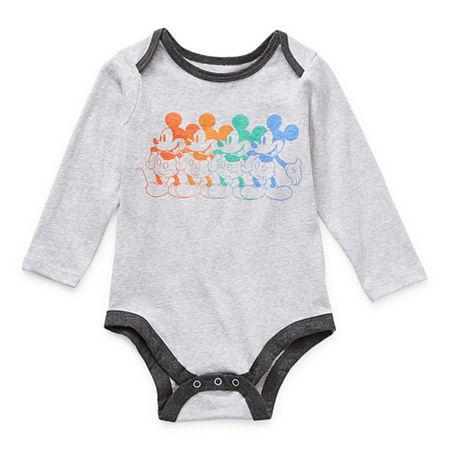 Okie Dokie Baby Boys Mickey Mouse Bodysuit, 12 Months , Gray