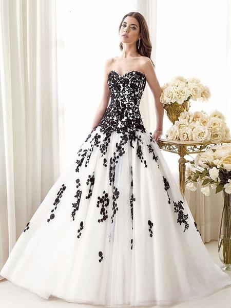 Milanoo Black Wedding Dresses Tulle Princess Silhouette Sleeveless Low Rise Waist Lace Court Train Bridal Dress