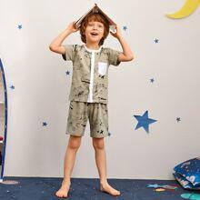 Toddler Boys Graffiti & Letter Graphic PJ Set