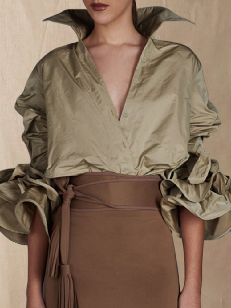 Solid Color V-neck Stand Collar 3/4 Ruffle Sleeve Blouse
