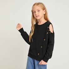Girls Cut Out Shoulder Button Detail Pullover