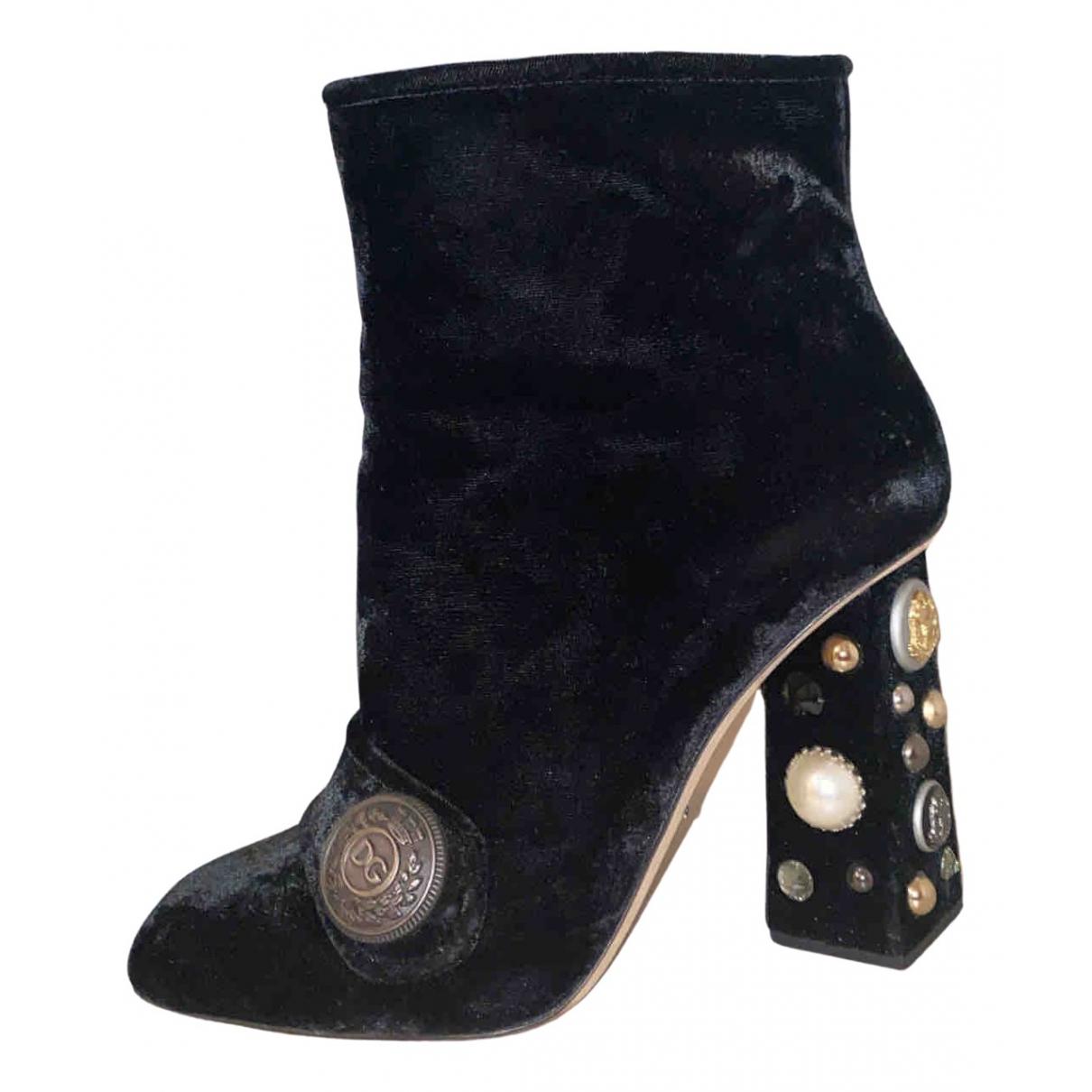 Dolce & Gabbana \N Black Velvet Ankle boots for Women 40 EU