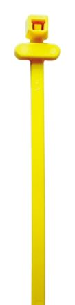 HellermannTyton Yellow Nylon RFID Cable Ties, 200mm x 4.6 mm