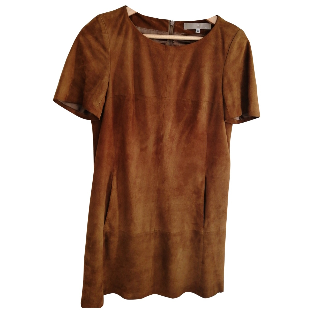 Non Signé / Unsigned \N Camel Leather dress for Women 36 FR