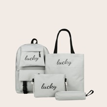 4pcs Letter Graphic Backpack Set
