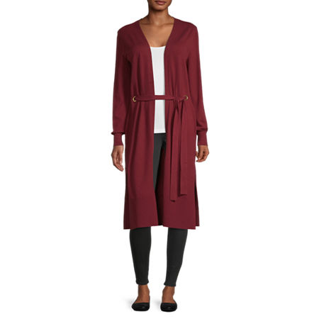 Bold Elements Womens Long Sleeve Cardigan, Large , Red