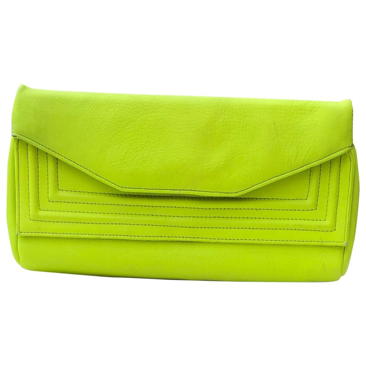 Barneys New York - Pochette   pour femme en cuir - vert