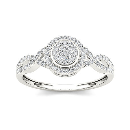 1/3 CT. T.W. Diamond 10K White Gold Engagement Ring, 8 1/2 , No Color Family