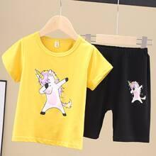Toddler Boys Unicorn Print Tee & Track Shorts