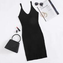 Schwarz Rippenstrick Einfarbig Laessig Kleider