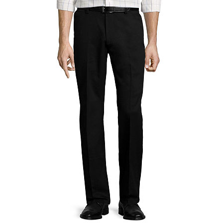 St. John's Bay Stretch Iron-Free Straight-Fit Flat-Front Pants, 42 30, Black