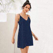 Double V-Neck Polka Dot Slip Dress