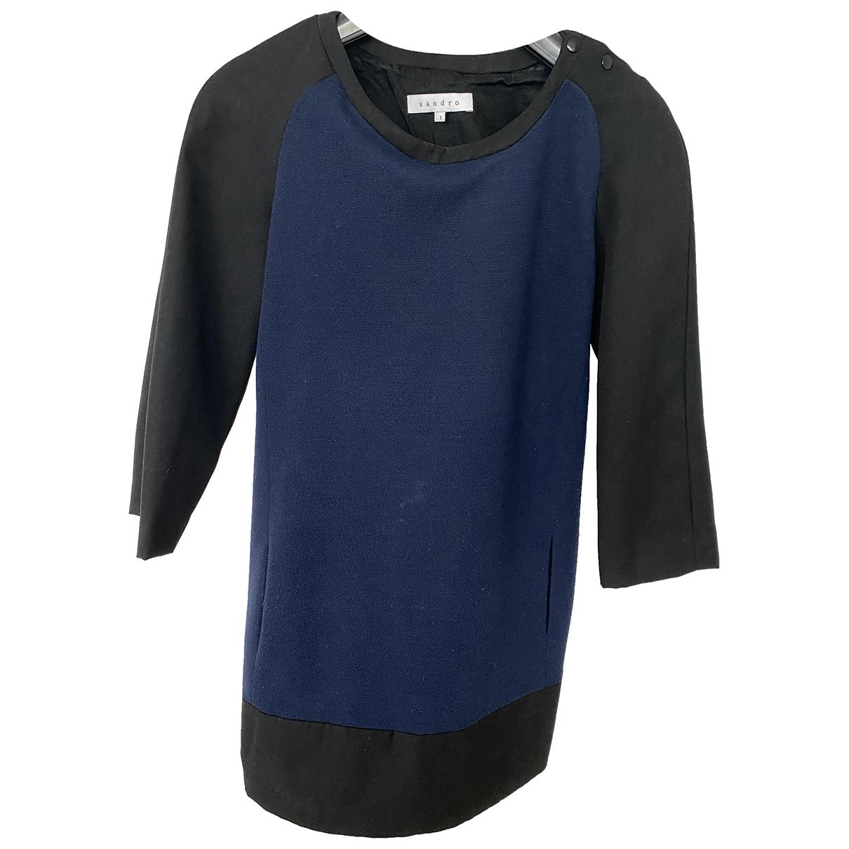 Sandro - Robe   pour femme en laine - marine
