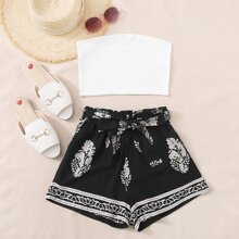 Solid Crop Tube Top & Tribal Belted Shorts
