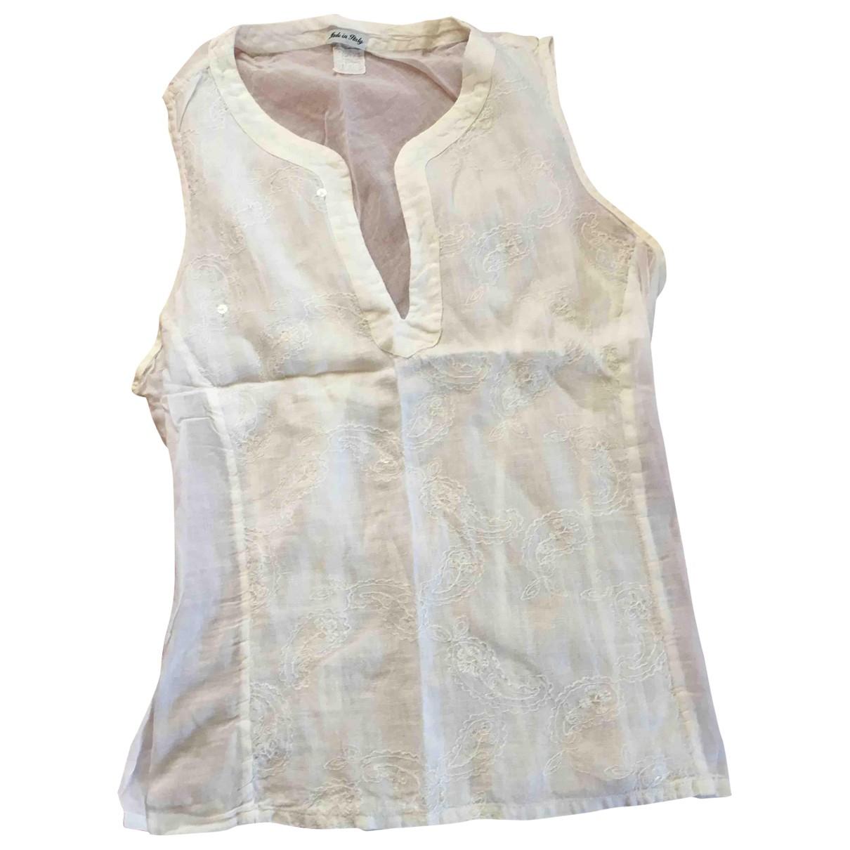 120% Lino - Top   pour femme en coton - blanc