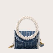 Bolsa cartera con perla artificial