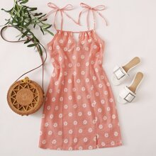 Seersucker Daisy Print Self-Tie Cami Dress