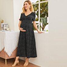 Maternity V-neck Polka Dot Print Dress