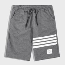 Men Letter Patched Striped Drawstring Athletic Shorts