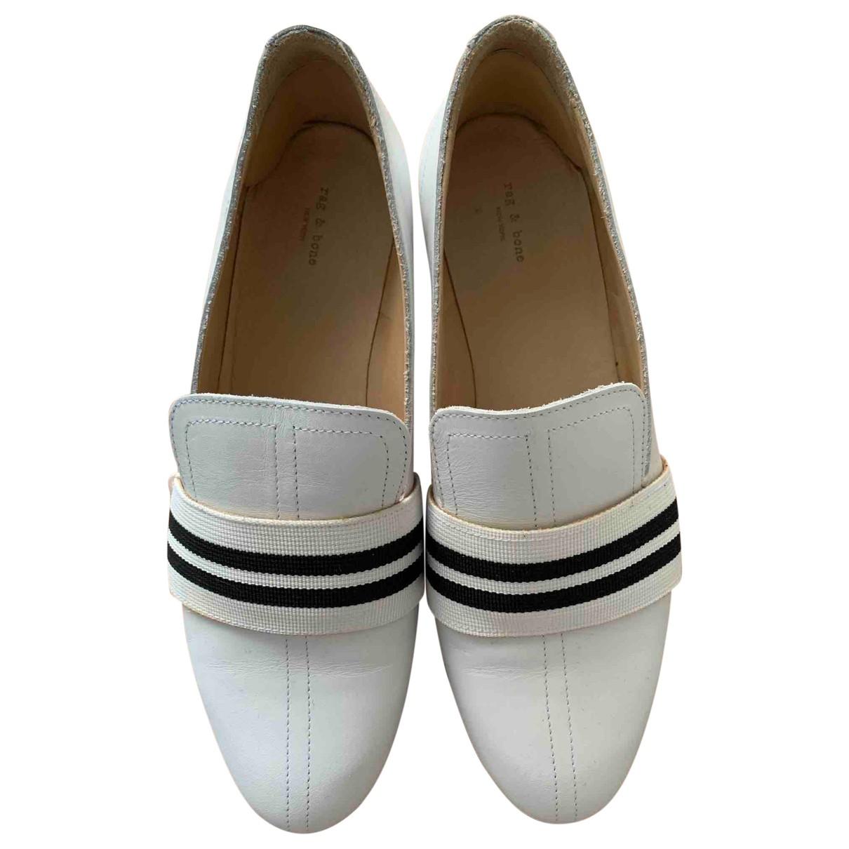 Rag & Bone \N White Leather Flats for Women 37 EU