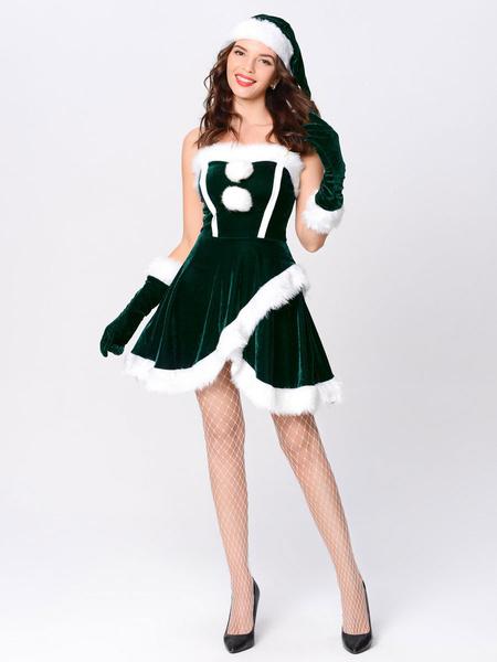 Milanoo Disfraz Halloween Conjunto navideño para mujer Vestido rojo con pompones peludos Disfraces navideños Carnaval Halloween