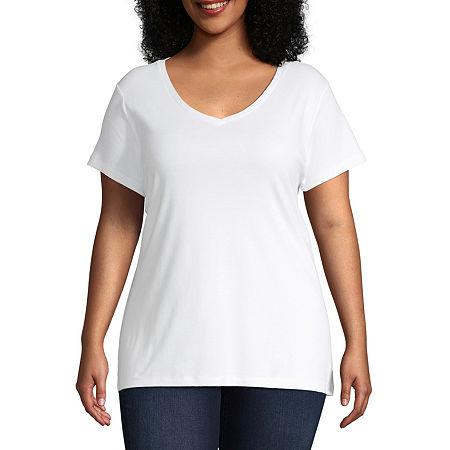 St. John's Bay Plus-Womens V Neck Short Sleeve T-Shirt, 4x , White